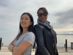 Photo of Sara Fung and Amie Archibald-Varley with overcast sky in background