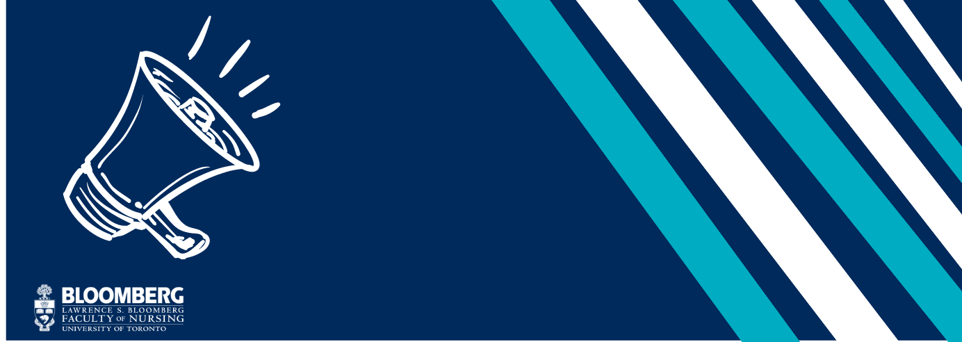 graphic of loud speaker on dark blue background with Bloomberg logo and teal and white stripes